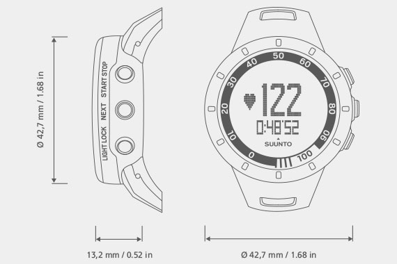 Suunto Quest Watch Measurements